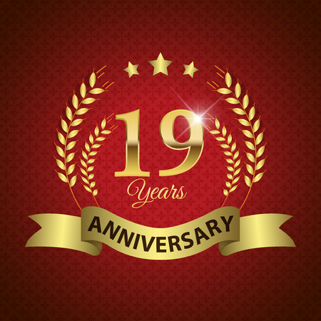19 years: Celebrating 19 Years Anniversary - Golden Laurel Wreath Seal with Golden Ribbon - Layered EPS 10 Vector