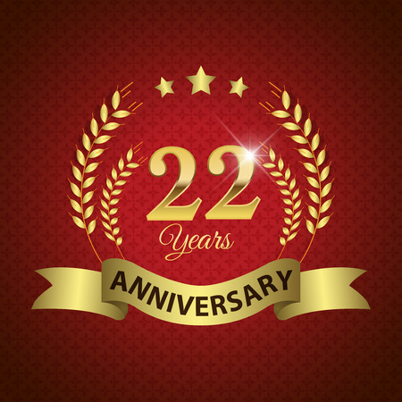 Celebrating 22 Years Anniversary - Golden Laurel Wreath Seal with Golden Ribbon - Layered EPS 10 Vector 일러스트