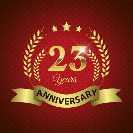 Celebrating 23 Years Anniversary - Golden Laurel Wreath Seal with Golden Ribbon - Layered EPS 10 Vector
