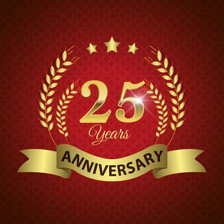twenty fifth: Celebrating 25 Years Anniversary - Golden Laurel Wreath Seal with Golden Ribbon - Layered EPS 10 Vector