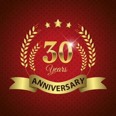 Celebrating 30 Years Anniversary - Golden Laurel Wreath Seal with Golden Ribbon  Vector
