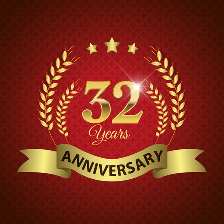 32: Celebrating 32 Years Anniversary - Golden Laurel Wreath Seal with Golden Ribbon