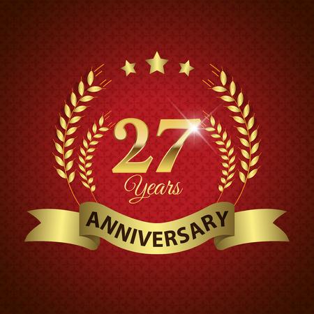 27 年周年 - ゴールデン リボンと金色の月桂冠シール  イラスト・ベクター素材