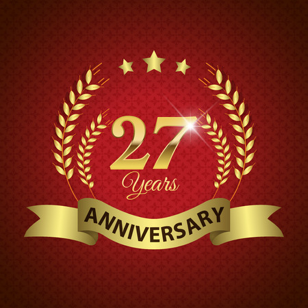 seven years: Celebrating 27 Years Anniversary - Golden Laurel Wreath Seal with Golden Ribbon