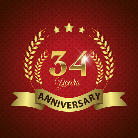 34: Celebrating 34 Years Anniversary - Golden Laurel Wreath Seal with Golden Ribbon - Layered EPS 10 Vector