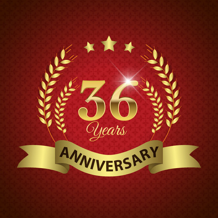 36: Celebrating 36 Years Anniversary - Golden Laurel Wreath Seal with Golden Ribbon - Layered EPS 10 Vector Illustration
