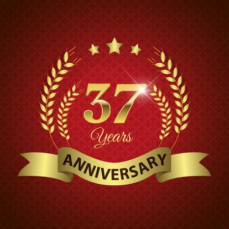 golden laurel wreath 10 years: Celebrating 37 Years Anniversary - Golden Laurel Wreath Seal with Golden Ribbon - Layered EPS 10 Vector Illustration