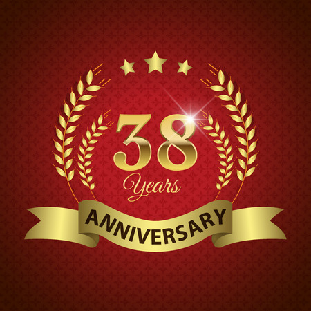 38: Celebrating 38 Years Anniversary - Golden Laurel Wreath Seal with Golden Ribbon - Layered EPS 10 Vector