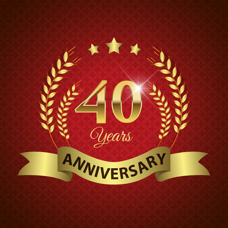 Celebrating 40 Years Anniversary - Golden Laurel Wreath Seal with Golden Ribbon - Layered EPS 10 Vector Vector