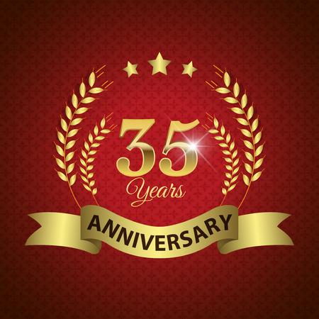 35 주년 기념 - 골든 리본이 달린 골든 월계관 인감 - 계층화 된 EPS 10 벡터 스톡 콘텐츠 - 33462199