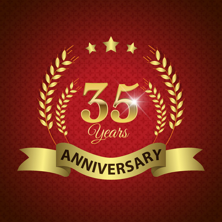 Celebrating 35 Years Anniversary - Golden Laurel Wreath Seal with Golden Ribbon - Layered EPS 10 Vector