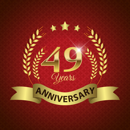 ninth birthday: Celebrating 49 Years Anniversary - Golden Laurel Wreath Seal with Golden Ribbon - Layered EPS 10 Vector