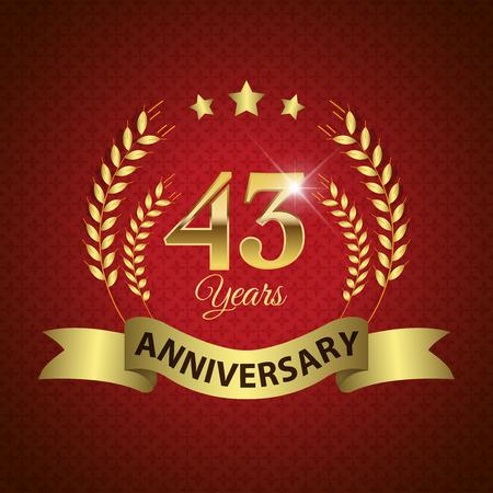 letras de oro: Celebrando 43 años de aniversario - oro Corona de Laurel sello con la cinta de oro - capas vectoriales EPS 10 Vectores