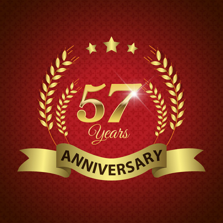 57: Celebrating 57 Years Anniversary - Golden Laurel Wreath Seal with Golden Ribbon - Layered EPS 10 Vector Illustration