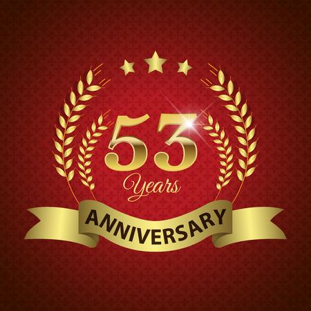 golden laurel wreath 10 years: Celebrating 53 Years Anniversary - Golden Laurel Wreath Seal with Golden Ribbon - Layered EPS 10 Vector