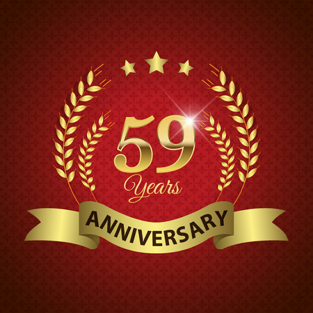 ninth birthday: Celebrating 59 Years Anniversary - Golden Laurel Wreath Seal with Golden Ribbon - Layered EPS 10 Vector