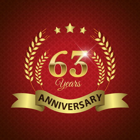 sixty: Celebrating 63 Years Anniversary - Golden Laurel Wreath Seal with Golden Ribbon - Layered EPS 10 Vector