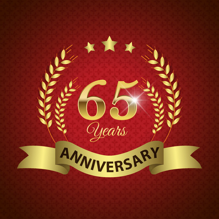 golden laurel wreath 10 years: Celebrating 65 Years Anniversary - Golden Laurel Wreath Seal with Golden Ribbon - Layered EPS 10 Vector Illustration