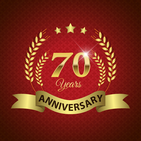 seventieth: Celebrating 70 Years Anniversary - Golden Laurel Wreath Seal with Golden Ribbon - Layered EPS 10 Vector