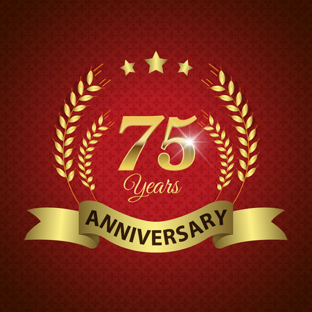 Celebrating 75 Years Anniversary - Golden Laurel Wreath Seal with Golden Ribbon - Layered EPS 10 Vector