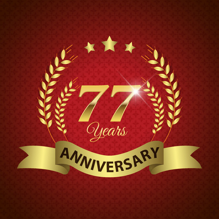 seventh: Celebrating 77 Years Anniversary - Golden Laurel Wreath Seal with Golden Ribbon - Layered EPS 10 Vector