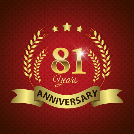 81: Celebrating 81 Years Anniversary - Golden Laurel Wreath Seal with Golden Ribbon - Layered EPS 10 Vector