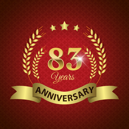 83rd: Celebrating 83 Years Anniversary - Golden Laurel Wreath Seal with Golden Ribbon - Layered EPS 10 Vector Illustration