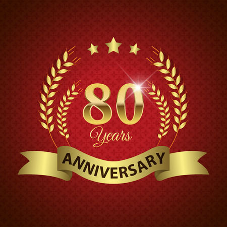 80 years: Celebrating 80 Years Anniversary - Golden Laurel Wreath Seal with Golden Ribbon - Layered EPS 10 Vector