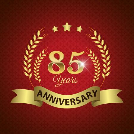 golden laurel wreath 10 years: Celebrating 85 Years Anniversary - Golden Laurel Wreath Seal with Golden Ribbon - Layered EPS 10 Vector