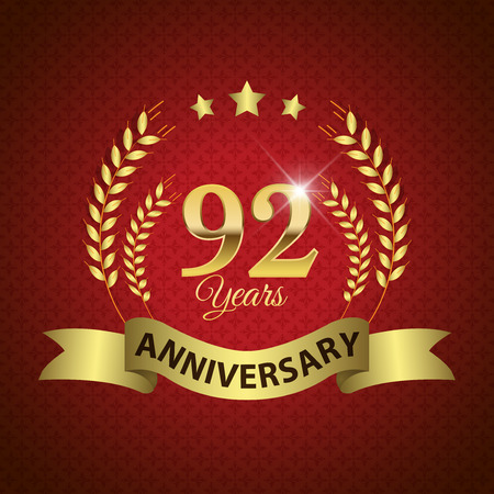 92: Celebrating 92 Years Anniversary - Golden Laurel Wreath Seal with Golden Ribbon - Layered EPS 10 Vector Illustration
