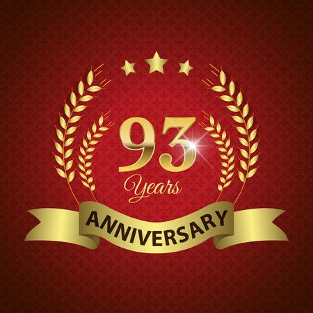 third birthday: Celebrating 93 Years Anniversary - Golden Laurel Wreath Seal with Golden Ribbon - Layered EPS 10 Vector