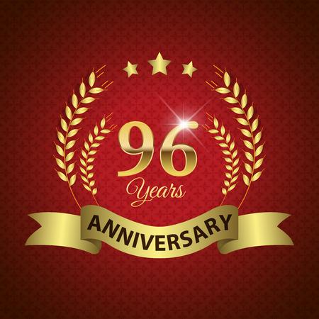 golden laurel wreath 10 years: Celebrating 96 Years Anniversary - Golden Laurel Wreath Seal with Golden Ribbon - Layered EPS 10 Vector