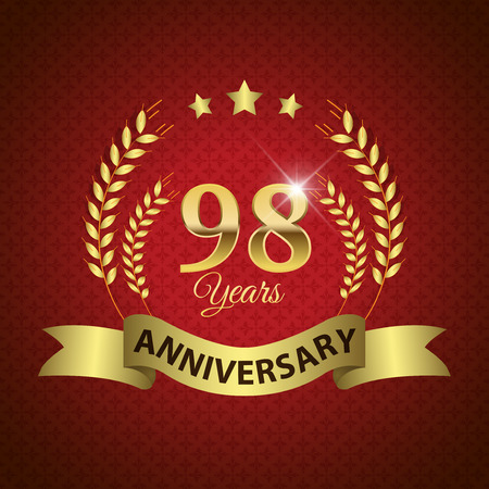 Celebrating 98 Years Anniversary - Golden Laurel Wreath Seal with Golden Ribbon - Layered EPS 10 Vector