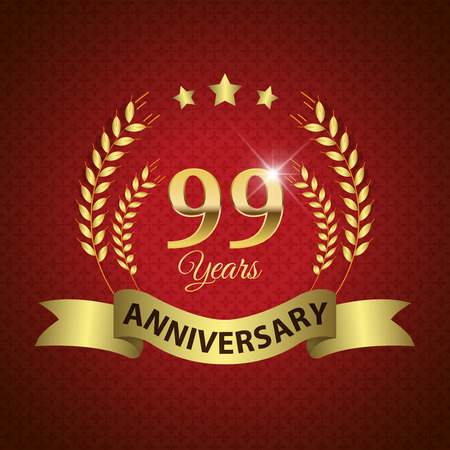 99: Celebrating 99 Years Anniversary - Golden Laurel Wreath Seal with Golden Ribbon - Layered EPS 10 Vector