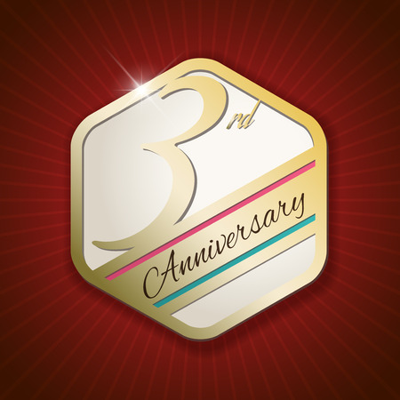 third birthday: 3rd Anniversary - Classy and Modern golden emblem  Seal  Badge - vector illustration on read rays background