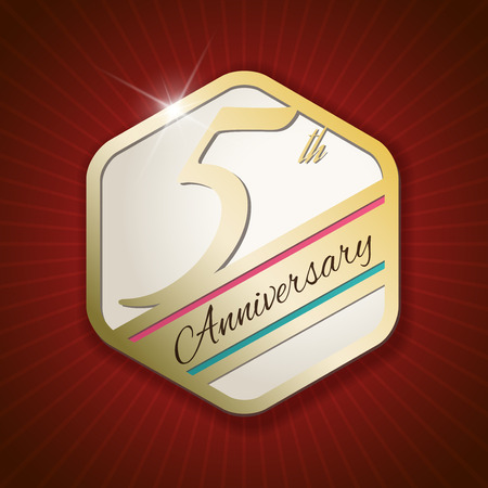 5th: 5th Anniversary - Classy and Modern golden emblem  Seal  Badge - vector illustration on read rays background