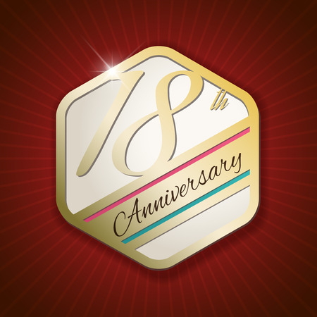 18th Anniversary - Classy and Modern golden emblem  Seal  Badge - vector illustration on read rays background Vector