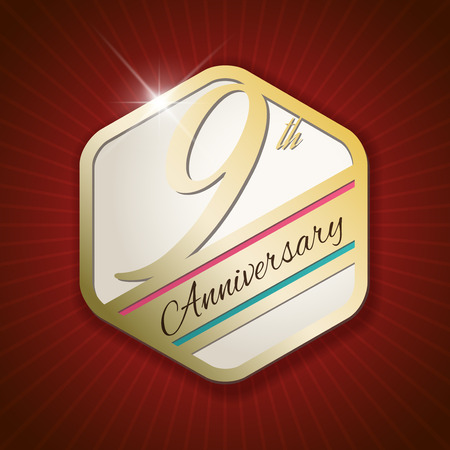 9th: 9th Anniversary - Classy and Modern golden emblem  Seal  Badge - vector illustration on read rays background