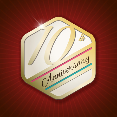 10th: 10th Anniversary - Classy and Modern golden emblem  Seal  Badge - vector illustration on read rays background