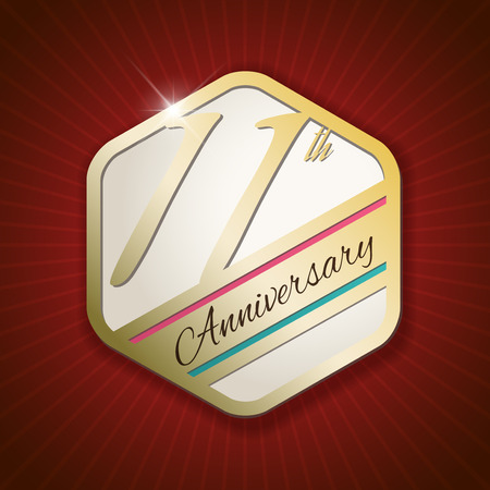 eleventh birthday: 11th Anniversary - Classy and Modern golden emblem  Seal  Badge - vector illustration on read rays background