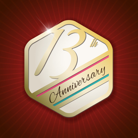 13th: 13th Anniversary - Classy and Modern golden emblem  Seal  Badge - vector illustration on read rays background