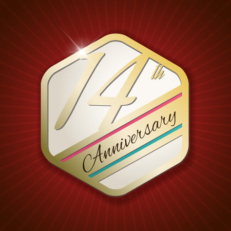 14th: 14th Anniversary - Classy and Modern golden emblem  Seal  Badge - vector illustration on read rays background