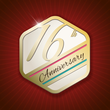 16th: 16th Anniversary - Classy and Modern golden emblem  Seal  Badge - vector illustration on read rays background