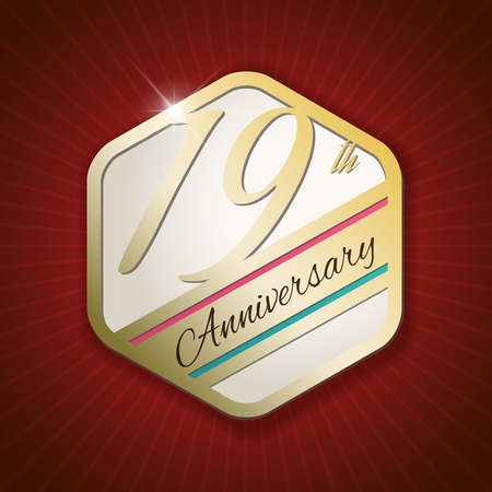 19th: 19th Anniversary - Classy and Modern golden emblem  Seal  Badge - vector illustration on read rays background Illustration