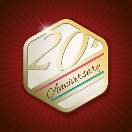 20th: 20th Anniversary - Classy and Modern golden emblem  Seal  Badge - vector illustration on read rays background Illustration