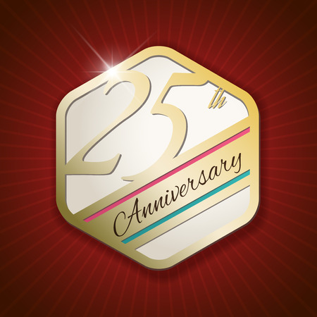 twenty fifth: 25th Anniversary - Classy and Modern golden emblem  Seal  Badge - vector illustration on read rays background