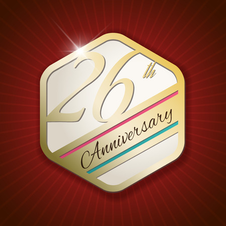 26th: 26th Anniversary - Classy and Modern golden emblem  Seal  Badge - vector illustration on read rays background