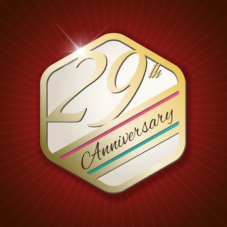 ninth birthday: 29th Anniversary - Classy and Modern golden emblem  Seal  Badge - vector illustration on read rays background Illustration