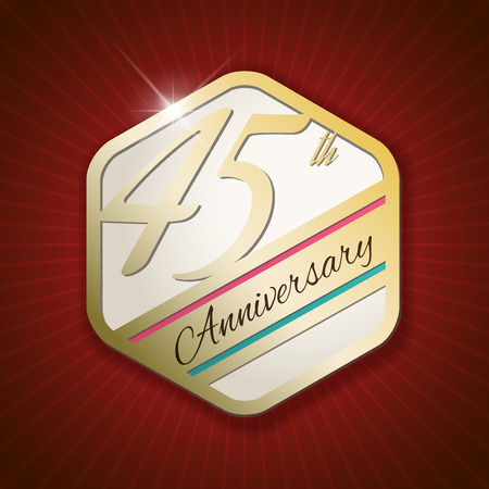 45th: 45th Anniversary - Classy and Modern golden emblem  Seal  Badge - vector illustration on read rays background Illustration