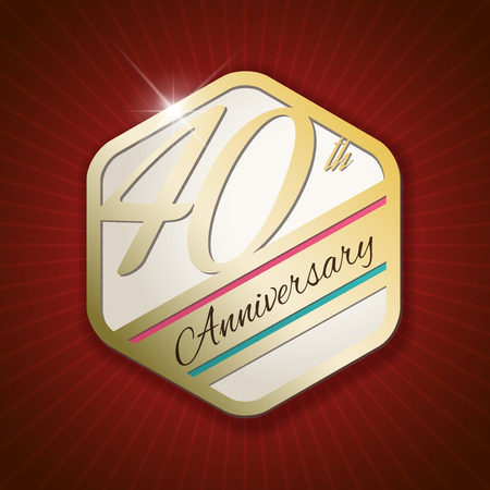 40th Anniversary - Classy and Modern golden emblem  Seal  Badge - vector illustration on read rays background Vector